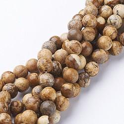 """Chapelets de perles en jaspe avec images naturelles, rond, 8mm, trou: 2mm; environ 48 pcs/chapelet, 14.7"""" (37.5 cm)(G-L476-11)"""