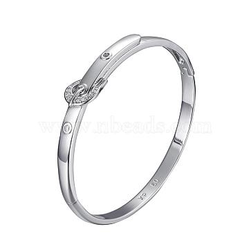 Fashion Brass Bangles, with Rhinestone, Crystal, Platinum, 2 inchesx2-3/8 inches(52x59mm ) (BJEW-L615-02P)