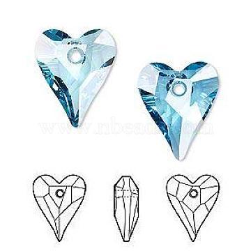 Austrian Crystal Pendants, 6240 Wild Heart, Mother's Day Jewelry Making, 202_Aquamarine, 17x14mm(X-SWAR-6240-17MM-202)