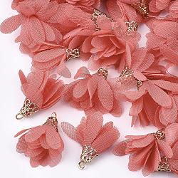 шифон подвески, с железом выводы, цветок, золотой, лосось, 25~27x20~30 mm, отверстия: 2.5 mm(X-FIND-S300-03M)