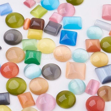 Cat Eye Cabochons, Mixed Shapes, Mixed Color, 6~11x6~13x2.5~4mm(CE-MSMC003-01)