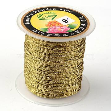 Round Metallic Cord, 12-Ply, Goldenrod, 1mm, about 54.68 yards(50m)/roll(MCOR-L001-1mm-08)