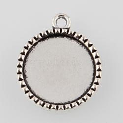 alliage de style tibétain paramètres cabochon pendentif rond et plat, argent antique, plateau: 18 mm; 26x22x2.5 mm, trou: 2 mm(X-TIBEP-M022-39AS)