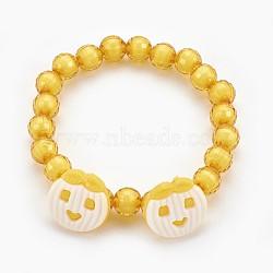 """Bracelets extensibles en perles acryliques pour enfants, boutons en acrylique avec pomme, or, 1-7/8"""" (4.8 cm)(BJEW-JB03887-02)"""