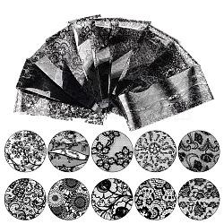 Lace Nail Art Stickers Decals, For Nail Art Design, Black, 20x4cm; 10pcs/set(MRMJ-G002-13)