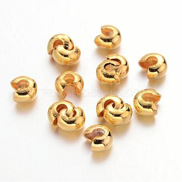 Iron Crimp Beads Covers, Cadmium Free & Nickel Free & Lead Free, Golden, 4mm In Diameter, Hole: 1.5~1.8mm(X-IFIN-H029-NFG-NF)