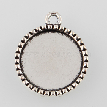 Tibetan Style Alloy Flat Round Pendant Cabochon Settings, Cadmium Free & Lead Free, Antique Silver, Tray: 18mm, 26x22x2.5mm, Hole: 2mm(X-TIBEP-M022-39AS)