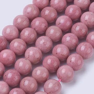 Natural Rhodonite Beads Strands, Grade AA, Round, 8.5~9mm, Hole: 1mm, about 44pcs/strand, 15 inches(38cm)(G-F567-8mm)
