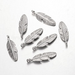 Tibetan Silver Pendants, Lead Free & Nickel Free & Cadmium Free, Feather, Antique Silver, about 30mm long, 9mm wide, 2mm thick, Hole: 2mm