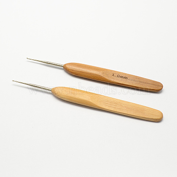 Bamboo Handle Iron Crochet Hook Needles, Peru, Pin: 1.0mm; 133~136x13x7mm(X-TOOL-R034-1.0mm)