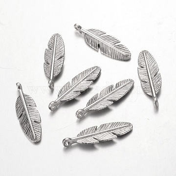Tibetan Silver Pendants, Lead Free & Nickel Free & Cadmium Free, Feather, Antique Silver, about 30mm long, 9mm wide, 2mm thick, Hole: 2mm(X-AB261Y-NF)