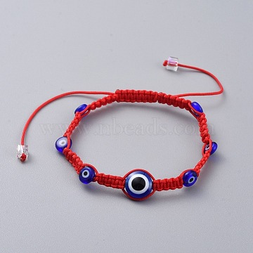 Nylon Thread Braided Bead Bracelets, Red String Bracelets, with Resin and Handmade Lampwork Beads, Evil Eye, Red, 1-3/4 inches~3-3/8 inches(4.8~8.5cm)(BJEW-JB04769-02)