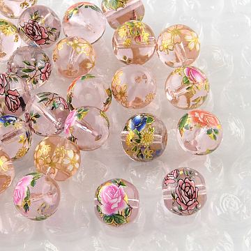Rose Flower Pattern Printed Round Glass Beads, Mixed Color, 10x9mm, Hole: 1.5mm(X-GFB-R004-10mm-W)