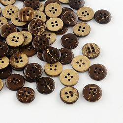 Boutons de noix de coco avec 4-trou, coudre les boutons ronds plats, coconutbrown, 12.5x2mm, Trou: 1.5mm(X-BUTT-R035-008)