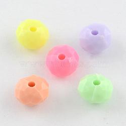 непрозрачные акриловые бусины, Rondelle граненый, cmешанный цвет, 8x5.5 mm, отверстия: 1.5 mm(X-SACR-R850-19)