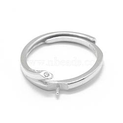 Composants de bague réglables en 925 argent sterling, pour la moitié de perles percées, avec zircons, clair, platine, taille 6, 16 mm; broches: 0.85 mm(STER-L055-021P)
