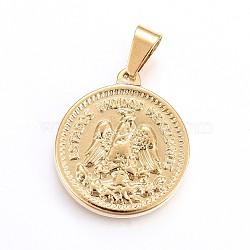 Pendentifs en 304 acier inoxydable, pièce de monnaie, or, 29x25.5x3.5mm, Trou: 10x5mm(STAS-H458-03G)