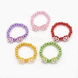 """Bracelets extensibles en perles acryliques pour enfants, boutons en acrylique avec pomme, couleur mixte, 1-7/8"""" (4.8 cm)(BJEW-JB03887)"""