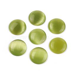 chat cabochons de verre oeil, demi-tour / dôme, olive, sur 14 mm de diamètre, 3.5 mm d'épaisseur(X-CE070-14-12)
