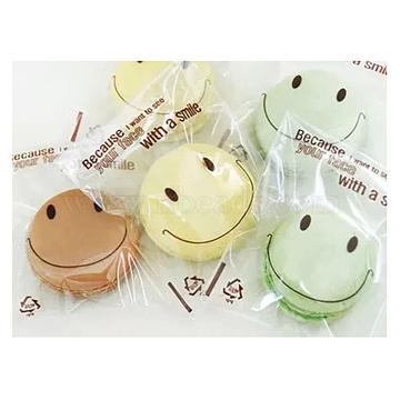 Sacs en plastique mignons sourire, avec de l'adhésif, clair, 13x7.5 cm; environ 95~100 pcs / sac(PE-L002-01)