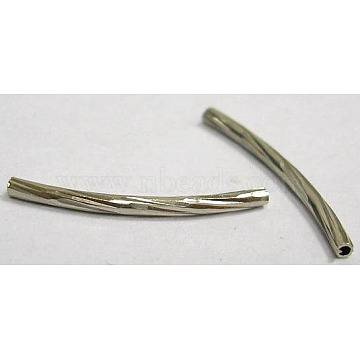 Brass Tube Beads, Curved, Nickel Free, Platinum Color, Size: about 2mm in diameter, 15mm long, hole: about 1mm(X-EC0572X15mm-NF)