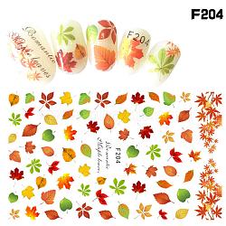 Autocollants de décalques d'art d'ongle, décorations d'art d'ongle, série de feuilles d'érable, colorées(MRMJ-L004-16J)