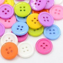 Boutons acryliques de couture, Boutons en plastique pour costumes, 4-trou, teint, plat rond, couleur mixte, 15x2mm, Trou: 1mm(X-BUTT-E076-E-M)
