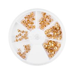 304 tasse en acier inoxydable poire perle bails broches pendentifs, pour la moitié de perles percées, or, 4~8mm, Trou: 1mm, broche: 0.7mm; 60pcs / set(STAS-PH0018-61G)