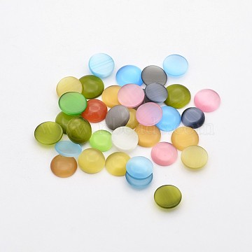 9mm Mixed Color Flat Round Glass Cabochons