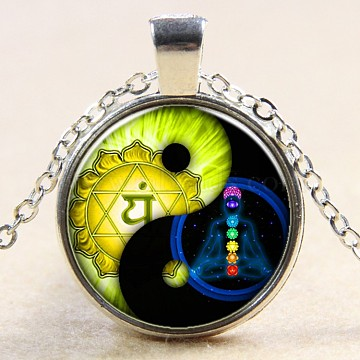 Feng Shui Glass Pendant Necklaces, with Alloy Chains, Flat Round with Yin Yang, Silver Color Plated, 18 inches(NJEW-D280-05S)