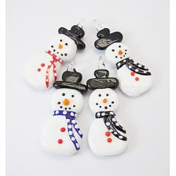 Noël main chalumeau grands pendentifs, bonhomme de neige, colorées, 65x25x10mm, Trou: 5mm(LAMP-D424-M)
