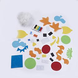 Ensemble d'organisme marin fait main de tissu non tissé, matériau de coupe libre diy paquet, pour les jouets d'enfants, couleur mixte, 10~105x10~101x1mm(DIY-SCT000Z-09)