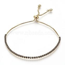 bracelets de bolo en laiton de l'environnement, bracelets de slider, avec zircons, sans plomb et sans cadmium et sans nickel, noir, 1-1 / 8 (3.1 cm) ~ 2-1 / 2 (6.5 cm); 1~2 mm(BJEW-P225-01G-05-NR)