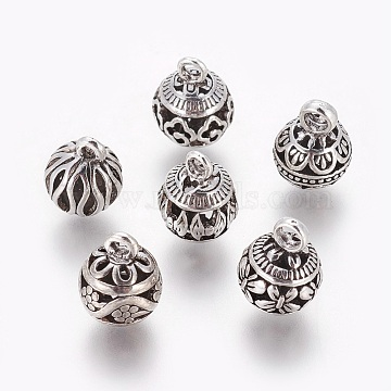 Alloy Pendants, Round, Antique Silver, 13~15x10~11mm, Hole: 2~2.5mm(X-PALLOY-F224-12AS)