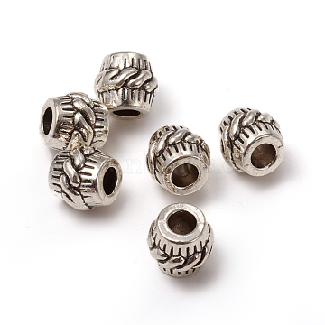 Alloy European Beads, Large Hole Beads, Rondelle, Antique Silver, 10x11mm, Hole: 4.5mm(MPDL-L028-69AS)