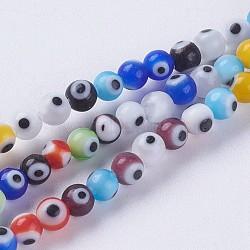 """Chapelets de perles vernissées manuelles, rond, colorées, 4mm, trou: 1mm; environ 98 pcs/chapelet, 14.3"""" (36.5 cm)(LAMP-J089-B01)"""