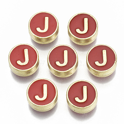 Alloy Enamel Beads, Cadmium Free & Nickel Free & Lead Free, Flat Round with Initial Letters, Light Gold, Letter.J, 8x4mm, Hole: 1.5mm(X-ENAM-S122-028J-NR)