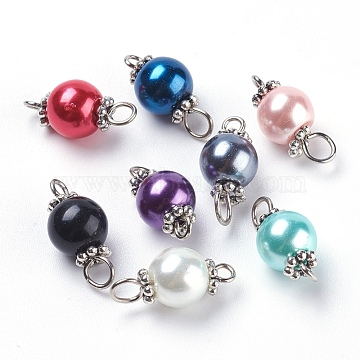 Pearlized Glass Pearl Links connectors, with Tibetan Style Alloy Bead Spacers and Iron Eye Pin, Round, Mixed Color, Antique Silver & Platinum, 17x8mm, Hole: 2mm and 3mm(X-PALLOY-JF00348)