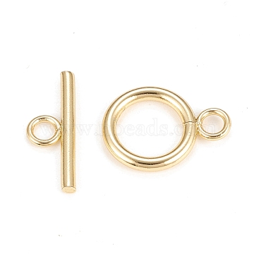 Brass Toggle Clasps, Long-Lasting Plated, Ring, Real 18K Gold Plated, Bar: 7x18.5x2.1mm, Hole: 2.7mm, Ring: 18x13.2x2.2mm, Hole: 2.7mm(X-KK-Q765-01G)