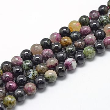Natural Tourmaline Beads Strands, Grade A, Round, 6~7mm, Hole: 1mm; about 60~67pcs/strand, 15.7 inches(G-R446-6mm-03)