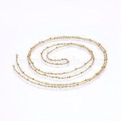304 Stainless Steel Cable Chains, Soldered, with Round Beads, Satellite Chains, Golden, 1.6mm(X-CHS-I002-02G)