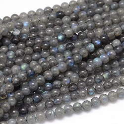 Natural Labradorite Round Bead Strands, Grade AA, 6mm, Hole: 1mm; about 63pcs/strand, 15.5inches