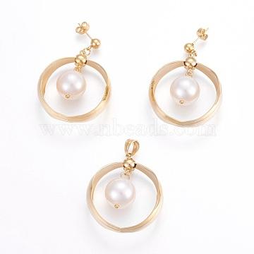 White Ring Stainless Steel Stud Earrings & Pendants