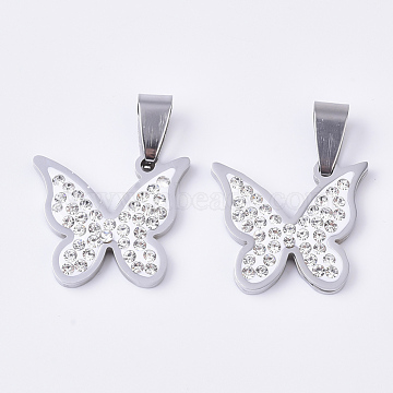 201 Stainless Steel Pendants, with Random Size Snap On Bails and Polymer Clay Crystal Rhinestones, Butterfly, Stainless Steel Color, 28x20x3mm, Hole: 8~10x3~5mm(X-STAS-N089-17P)