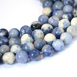 Natural Sodalite Round Bead Strands, 8~8.5mm, Hole: 1mm; about 47pcs/strand, 15.5 inches