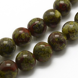 Chapelets de perles de sang de dragon naturel, rond, 6mm, trou: 1mm; environ 62 pcs/chapelet, 15.3'' (39 cm)(G-G735-34-6mm)