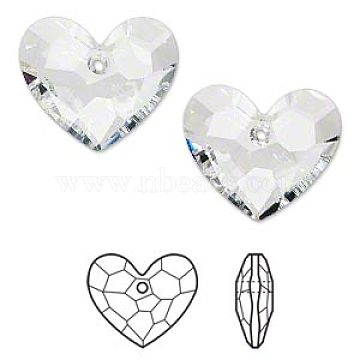 Austrian Crystal Rhinestone, 6264, Crystal Passions, Faceted, Truly in Love Heart Pendant, 001_Crystal, 28x28x12mm, Hole: 2mm(6264-28mm-001(U))