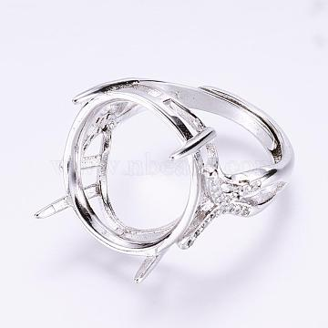 Real Platinum Plated Clear Brass Ring Components