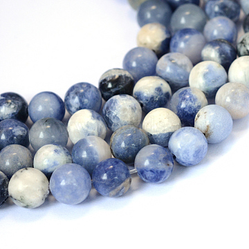 Natural Sodalite Round Bead Strands, 8~8.5mm, Hole: 1mm, about 47pcs/strand, 15.5 inches(X-G-E334-8mm-08)