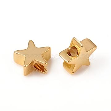 Brass Beads, Star, Long-Lasting Plated, Golden, 8x8x3.5mm, Hole: 1.5mm(X-KK-E787-03G)